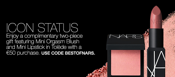 Icon Status. Enjoy a complimentary two-piece gift featuring Mini Orgasm Blush and Mini Lipstick in Tolède with a €50 purchase. use code BESTOFNARS.