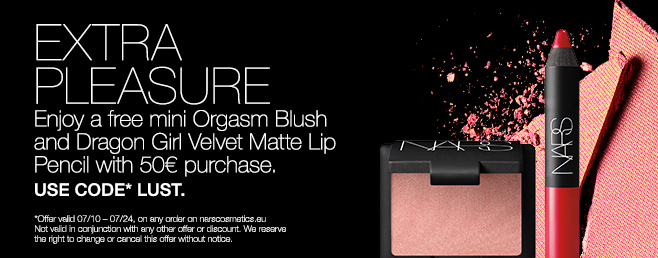 EXTRA PLEASURE Enjoy a free mini Orgasm Blush and Dragon Girl Velvet Matte Lip Pencil with 50€ purchase. USE CODE LUST.